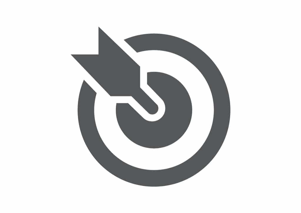 Logo d'une flèche d'arc au milieu d'une cible.