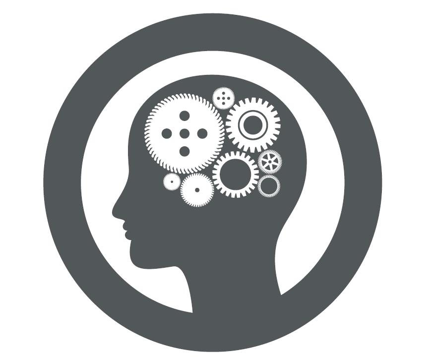 Logo représentant un homme avec des écrous dans la tête.